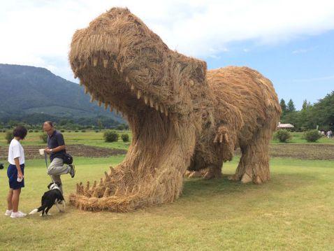 Після збору врожаю рису поля в Японії прикрасять гігантські солом'яні динозаври