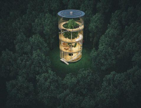 Казахська архітектор розробив скляний будинок, побудований навколо дерева