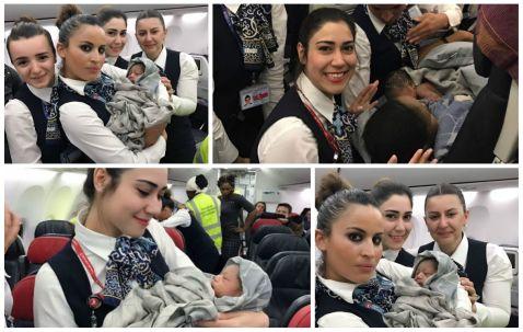 На борту літака Turkish Airlines стюардеси прийняли пологи